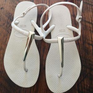 Size 37/38 havaianas gold sandals
